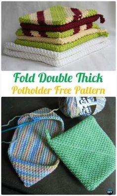 Crochet Fold Double Thick Potholder Free Pattern - #Crochet Pot Holder Hotpad Free Patterns