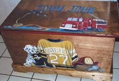 Handmade and hand painted birch wood toy box.    This toy box is painted just for you.    This toy box is approx: 33 1/2 L x 17 1/2 W x 19