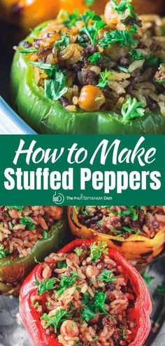 So good! You'll love these tender stuffed bell peppers! The stuffing mixture of meat and rice is out of this world! Dairy free and gluten free. Vegetarian stuffed pepper option included with the recipe! #stuffedpeppers #glutenfree #greekstuffedpeppers Vegetarian Recipes Easy, Clean Eating Recipes, Healthy Eating, Healthy Recipes, Easy Recipes, Weekly Recipes, Gf Recipes, Turkey Recipes, Healthy Snacks