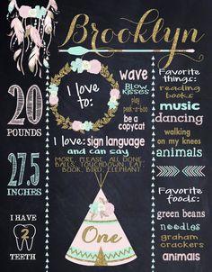 Tribal First Birthday Chalkboard Poster by MichelleRayeDesigns