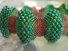Bumpy Peyote Bracelet in Rainbow Green and Rainbow Topaz (Made To Order) Beadwoven Handmade Comfortable Bright. $38.00, via Etsy.