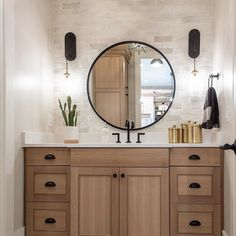 This bathroom has a lot of textures that simply compliment each other. Well done. Quartersawn white oak, custom stain cabinetry and flat black hardware from Top Knobs Oak Bathroom Vanity, Tuscan Bathroom, Bathroom Drawers, Bathroom Cabinets, Bathroom Furniture, Bathroom Storage, Bathroom Ideas, Barn Bathroom, Narrow Bathroom
