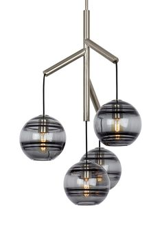 Sedona Single 4-Light LED Chandelier from Tech Lighting: Deconstructed modern chandelier, where glass orbs are suspended from the sleek branchlike Satin Nickel central hub via contrasting textured cloth covered cords to make a distinctly alluring visual statement. While each transparent smoke glass orb is perfectly spherical and smooth on the exterior surface, the interior surface features gradually thickening bands of glass.Perfect for your kitchen island, dining room, or living room…