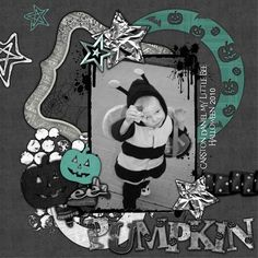 Halloween  Scrapbook Layout.  I like that its different colors for Halloween.