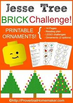 Jesse Tree Brick Challenge! Printable reading plan, build challenges, and ornaments for a fun Christmas advent tradition, ProverbialHomemaker.com