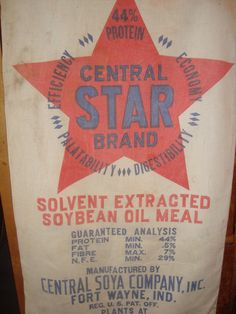 vintage CENTRAL STAR Brand Soy Bean Oil feed sack tote - Gussied Up