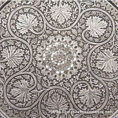 DETAIL FROM SILVER TRAY, CHASED AND PIERCED,, KASHMIR, INDIA - LATE 19TH CENTURY