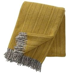 Klippan Bjork Yellow Eco Lambs Wool Throws for Spring colour accents