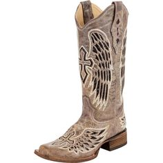 Corral Women's Black Wings and Cross Sequin Square Toe Cowgirl Boots [A1197]