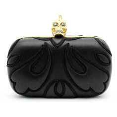 """Alexander Mcqueen """"Punk Baroc"""" Black Leather Skull Box Clutch ($2,240) ❤ liked on Polyvore"""