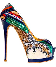Embroidered Printed Satin Pumps - Gianmarco Lorenzi (Art For Your Feet Casual Gold White Blue Orange Green Pink Crystals Leather Embellishments Pumps High Stiletto Peep Sequin) Dream Shoes, Crazy Shoes, Me Too Shoes, Pretty Shoes, Beautiful Shoes, Zapatos Shoes, Shoes Heels, Gianmarco Lorenzi, Satin Pumps