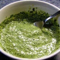 Use this refreshing sauce or chutney to serve with pappadums, pakoras, samosas or chips.  - Cilantro-Mint Chutney