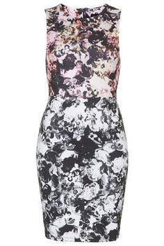 Photo Floral Print Bodycon Dress