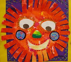mexican / aztec suns -  sponge painting, crayon resist, pastels,glue - I want to try paper plates.