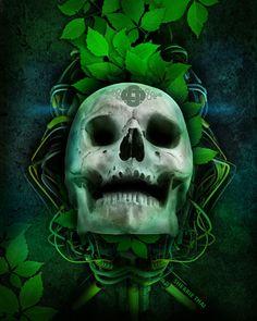 Electro Leaves Skull, by Sherrie Thai of Shaireproductions.com  gothic, horror, green leaves, st. patrick's, art, digital, celtic design, tech, dark art, magic, earthly