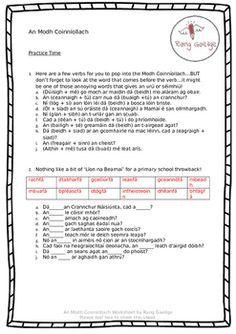 An Modh Coinníollach - Irish Grammar Activities Irish Language, French Language Lessons, Grammar Activities, 10 Points, Teacher Pay Teachers, Teacher Newsletter, Summary, Worksheets, How To Get