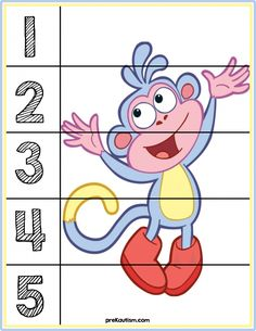 Dora the Explorer Educational Toys For Preschoolers, Educational Activities, Kids Learning, Numbers Preschool, Preschool Worksheets, Preschool Activities, Number Puzzles, Autism Activities, Dora The Explorer