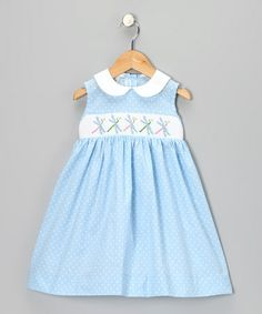 Take a look at this Blue Polka Dot Smocked Dragonfly Dress - Infant, Toddler & Girls by Vive la Fete on #zulily today!