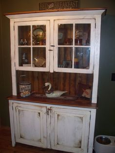 4 ft Glass top Hutch - Old Barn Star Custom made Amish Barnwood Furniture