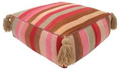 Striped Moroccan Kilim Pouf | Worldly Weaves | One Kings Lane