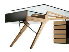Secretária com gavetas CAVOUR by Zanotta design Carlo Mollino