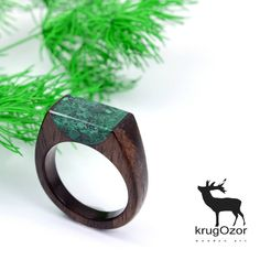 Rose wood ring  Malachite  #handmadejewelry #ecostyle
