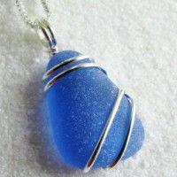 Handmade Jewelry on Etsy - Dark Cornflower Blue Sea Glass Necklace . Wire Wrapped Jewelry, Wire Jewelry, Pendant Jewelry, Jewelry Crafts, Beaded Jewelry, Gold Jewelry, Jewelry Storage, Handmade Jewellery, Earrings Handmade