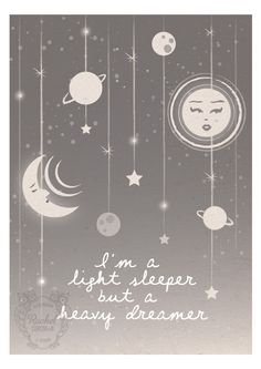 Moon and Stars - Original Digital Illustration - Rachillustrates via Etsy.