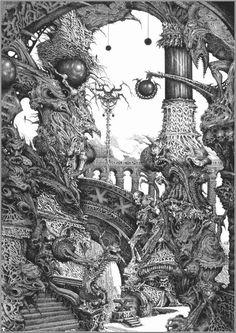Illustrations Discover verminprong sorcerersskull: Art by Ian Miller Art And Illustration, Illustrations And Posters, Warhammer 40k Art, Warhammer Fantasy, Cover Art, Arte Alien, Arte Horror, Fantasy Kunst, Environmental Art