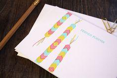 Letterpress Card - Friendship Bracelet Pink // $5.00 from Printerette Press // cutest cards ever!
