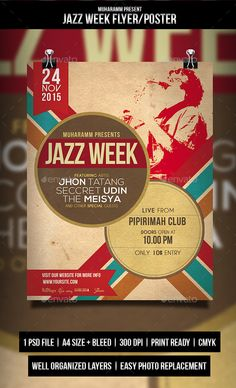 Jazz Retro Flyer / Poster (CS, 8.5x11, acoustic, band, club, concert, dance, event, event flyer, festival, flyer, gig, heart, jazz, jazz flyer, jazz week, live music, love, music, night, party, poster, poster template, print template, red, typography)