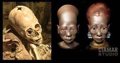 Schädel und Rekonstruktionen der 2011 entdeckten Cusco-Mumie (Illu.).