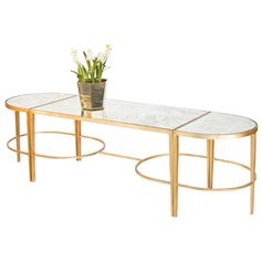Worlds Away Fnamcf3 3 Piece Gold Leaf Sabre Leg Coffee Table