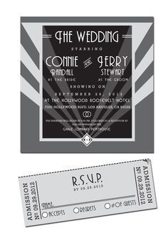 DIY Printable Old Hollywood Wedding Invitation & RSVP Ticket | Old ...