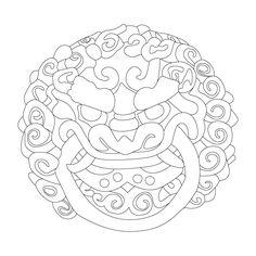 귀신문 Korean Crafts, Chinese Crafts, Chinese Theme, Buddhist Symbols, Leather Tooling Patterns, Chinese Embroidery, Japan Tattoo, Leather Carving, Blue Pottery