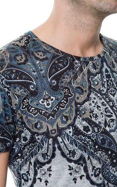 T-SHIRT WITH PAISLEY YOKE - T-shirts - Man - ZARA United States  $29.90