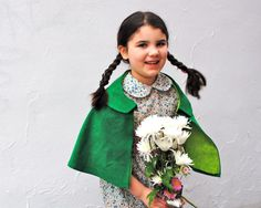 Girls Cape- Green Corduroy Capelet with Peter Pan Collar - Spring Fashion (Ready to Ship in 2 sizes)