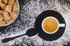 Cup of coffee espresso with sugar, top view by Anastasy Yarmolovich #AnastasyYarmolovichFineArtPhotography  #ArtForHome #Food