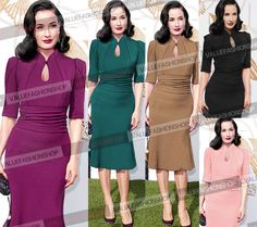 Women Celebrity Vintage Tunic Prom Cocktail Party Evening Mermaid Midi Dress 858 #Emage #StretchBodycon #Cocktail