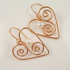 Pearl Earrings Copper Heart with Pearl eco friendly copper victorian jewelry  june birthstone. $25.95, via Etsy.