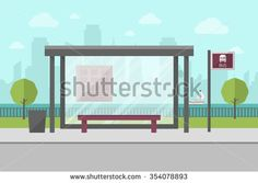 stock-vector-vector-illustration-of-bus-stop-with-city-skyline-and-river-with-boat-in-background-flat-design-354078893.jpg (450×320)