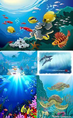 Some good ideas for underwater scene toy. 5 underwater world cartoon vector