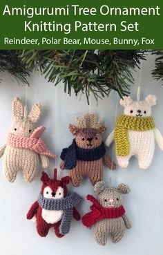 Knitting Patterns for Christmas Tree Ornaments Red-Nosed Reindeer, Polar Bear, Mouse, Bunny, Fox - Happy Tiere Knitted Christmas Decorations, Knit Christmas Ornaments, Christmas Crochet Patterns, Christmas Crafts, Christmas Bunny, Crochet Ornaments, Angel Ornaments, Neli Quilling, Quilled Roses