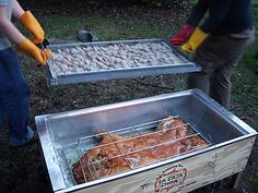 La Caja China Pig Roast Boxes are BBQ roasting grills that allow you to cook any type of meat, conveniently! Available with and without smoker. Find it here http://www.amazon.com/La-Caja-China-Model-2/dp/B000A76V2E   Photo by bsbrewing.com