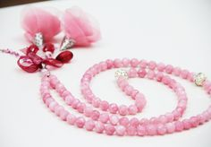 Pink Stone Beads Tasbeeh, 99 count,8mm faceted Jade beads, Pink fabric flowers,Round silver counters, Tasbih,Misbaha,Masbaha,Rosary,Necklace by Vanilleecom on Etsy