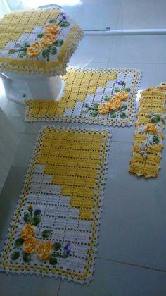 tığ işi sarı gül işlemeli klozet takımı - Kadınlar Sitesi
