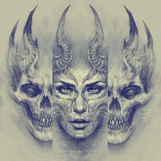 Evil Skull Tattoo, Evil Tattoos, Skull Sleeve Tattoos, Taurus Tattoos, Demon Tattoo, Skull Tattoo Design, Badass Tattoos, Body Art Tattoos, Tattoo Sketches