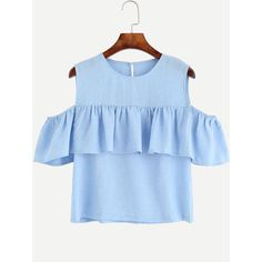 Blue Open Shoulder Ruffle Top ($13) ❤ liked on Polyvore featuring tops, blue, embellished tops, flutter-sleeve top, collar top, blue ruffle top and flounce top