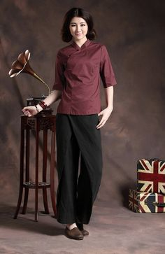 special linen pants for women. double layered wrap style Structural Cut for panel two pockets loose comfortable Fabric: linen, by specail wash and