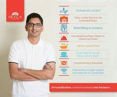 Personalization centered around your business!  With a plethora of services that revolve around the comfort of our guests, Skyla Serviced Apartments caters to all you need as a corporate traveler.  Visit www.skylaservicedapartments.com to know more.